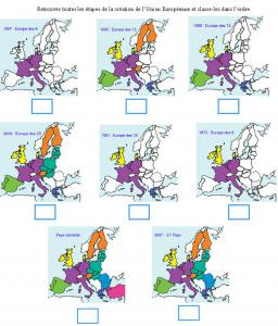Activité pour retrouver les étapes de l'intégration dans l'Union Européenne