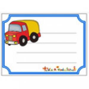 Etiquettes de cahier camion