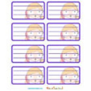 Etiquettes scolaires en violet