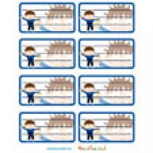 Etiquette cahier scolaire garçon bleues