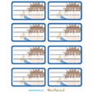 Planche de 8 etiquettes bleues a imprimer