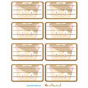 Planche étiquettes décorée d'une tête de hamster