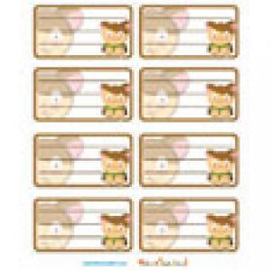 Etiquettes de cahier hamster en planche