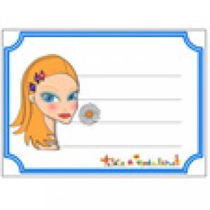 Etiquette de cahier visage de fille