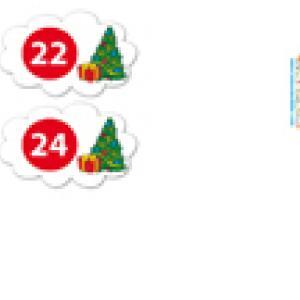 Etiquettes du calendrier de l'avent : 22 et 24 du mois de décembre
