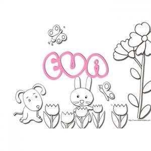 coloriage prénom Eva