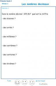 Imprimer l'exercice 1 sur les nombres décimaux