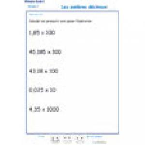 exercice 10 de multiplication sur les décimaux