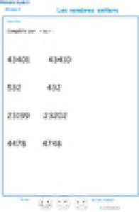 Imprimer exercice 2 sur les nombres entiers