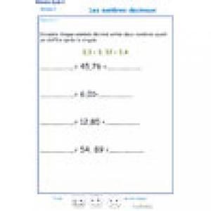 exercice 3 sur : supérieur, égal ou inférieur