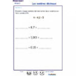 exercice 4 : encadrer des nombres décimaux