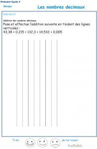 Poser une opération avec les décimaux CM1 - CM2