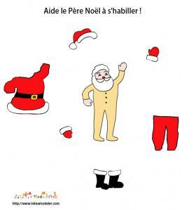 Avtivité pour habiller le Pere Noël et apprendre le nom des vêtements