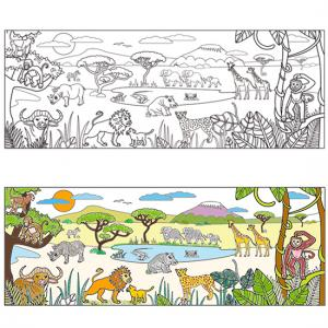 Coloriage d'une fresque savane africaine