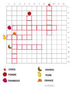 Grille de mots croisés sur les fruits 1