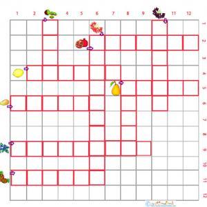 Imprimer une grille de mots croisés fruits 3 cycle 2