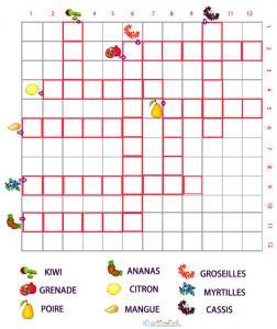 Imprimer une grille de mots croisés fruits 3 maternelle grille 3