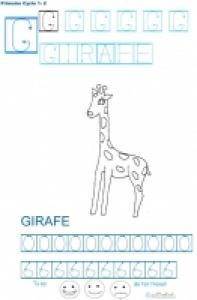 Exercice d'écriture et de graphisme : G et GIRAFE
