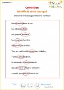 Exercice1 de grammaire CE2 : correction
