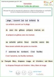 Exercice 1 de grammaire CP : correction