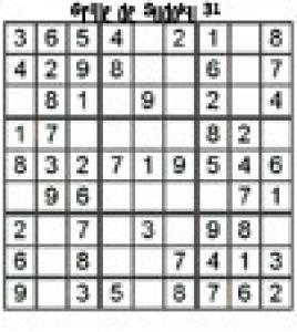 grille 31 de sudoku Primaire cycle 3