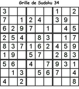 Sudoku enfant niveau 2 du primaire grille 34