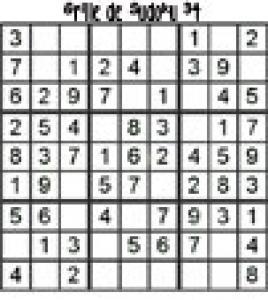 grille 34 de sudoku Primaire cycle 3
