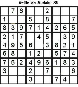 Sudoku enfant niveau 2 du primaire grille 35