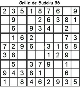 Sudoku enfant niveau 2 du primaire grille 36