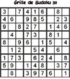Grille 39 de sudoku Primaire cycle 3