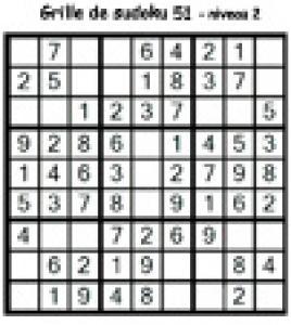 grille 51 de sudoku Primaire cycle 3