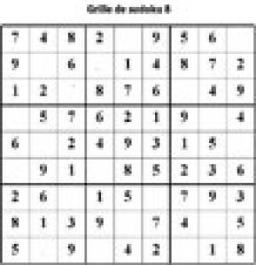 Grille 8 de sudoku Primaire cycle 3