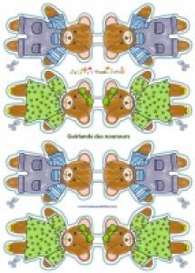 Guirlande Nounours en papier à imprimer