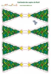 Guirlande de sapins de Noël en papier à imprimer