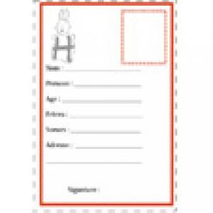 carte d'identité H illustration par une lettre animal 8