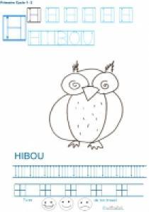 Exercice d'écriture et de graphisme : H et HIBOU