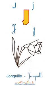 Apprendre le J et colorier la jonquille