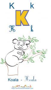 Apprendre le K et colorier le koala