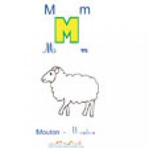 Imprimer la planche imagier à colorier le mouton