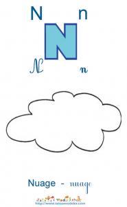 Apprendre le N et colorier le nuage