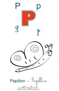 Apprendre le P et colorier le papillon