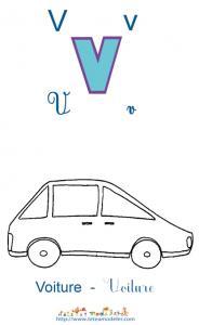 Apprendre le V et colorier la voiture