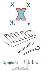 Apprendre le X et colorier le xylophone