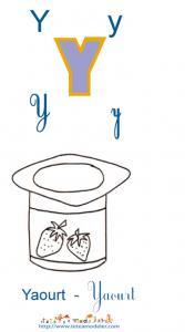 Apprendre le Y et colorier le yaourt