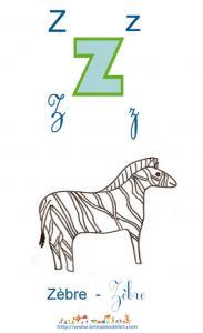 Apprendre le Z et colorier le zebre
