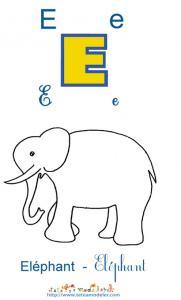 Apprendre le E et colorier l'élephant