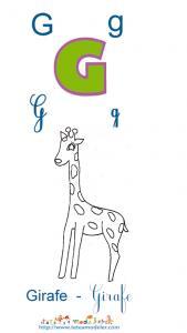 Apprendre le G et colorier la girafe