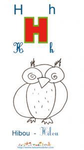 Apprendre le H et colorier le hibou