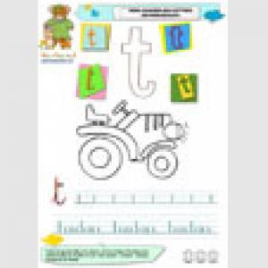 """Imagier des minuscules : Page du """"t"""" comme tracteur a imprimer"""