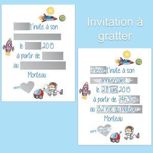 Invitations d'anniversaire en carte à gratter